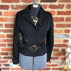 Marciano Black Belted Cropped Jacket Gold Hardware